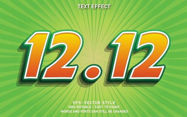 Efeito de texto editável 12.12 venda Vetor Premium