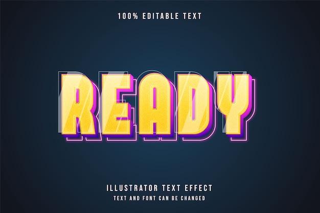Efeito de texto editável 3d gradação amarela rosa roxo estilo neon Vetor Premium