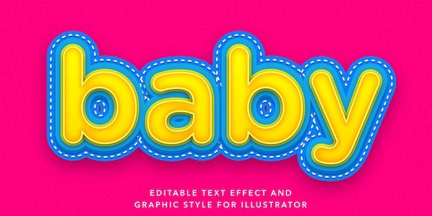Efeito de texto editável de estilo de letra de bebê Vetor Premium
