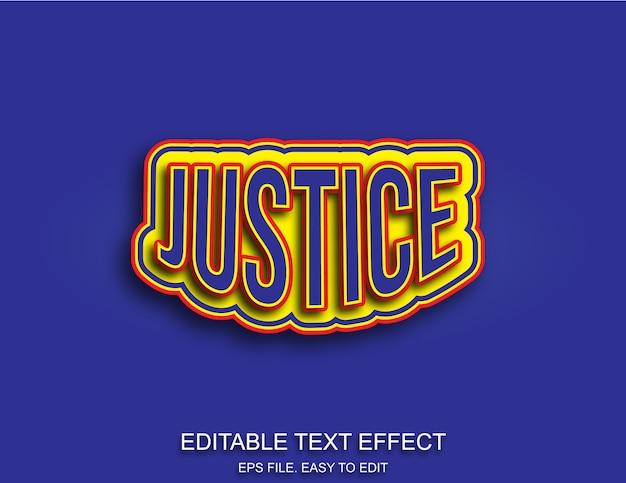 Efeito de texto editável de justiça Vetor Premium