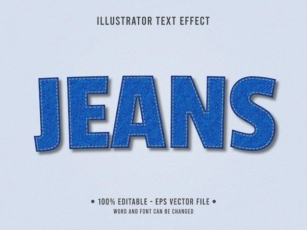 Efeito de texto editável de textura de jeans Vetor Premium