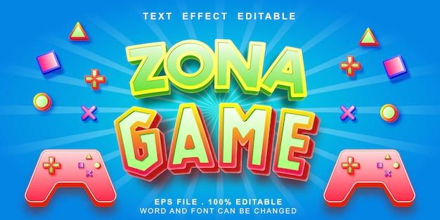 Efeito de texto editável de zona jogo 3d Vetor Premium