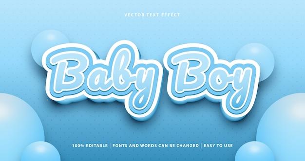 Efeito de texto editável do bebê menino azul. Vetor Premium