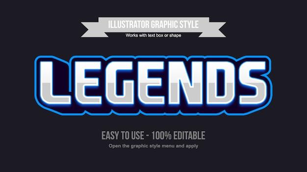 Efeito de texto editável do logotipo moderno azul prata do jogo Vetor Premium