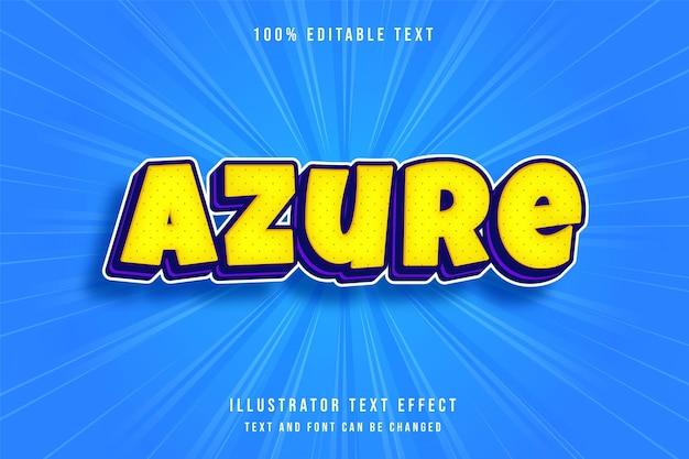 Efeito de texto editável em 3d azure moderno, estilo de texto amarelo roxo e azul Vetor Premium