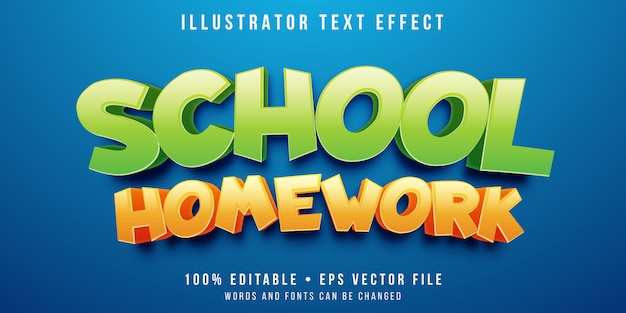 Efeito de texto editável - estilo de texto de escola de desenho animado Vetor Premium