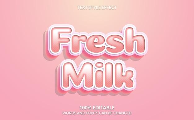 Efeito de texto editável, estilo de texto de leite fresco Vetor Premium