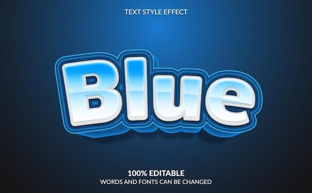 Efeito de texto editável, estilo de texto moderno em negrito azul Vetor Premium