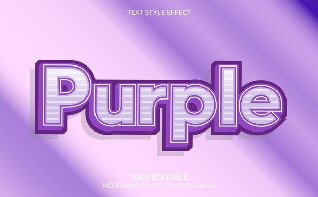 Efeito de texto editável, estilo de texto roxo bonito Vetor Premium