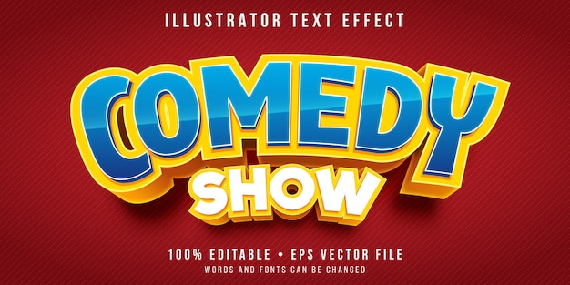 Efeito de texto editável - estilo de título de programa de comédia Vetor Premium