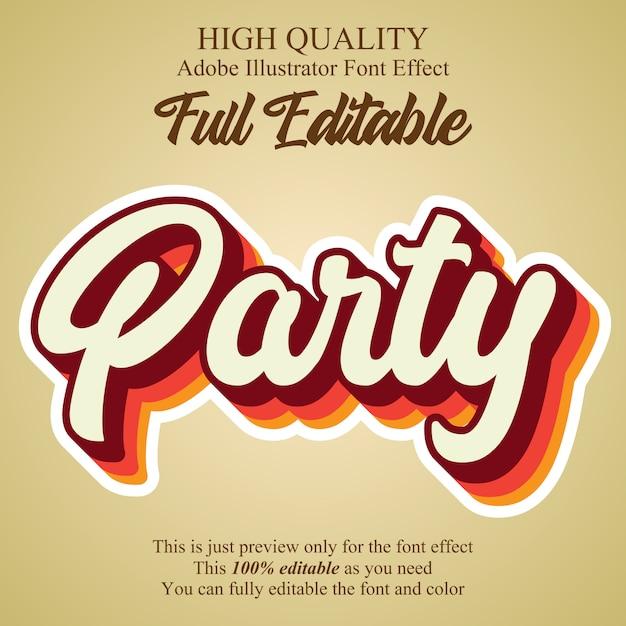 Efeito de texto editável estilo gráfico de script de festa vintage Vetor Premium