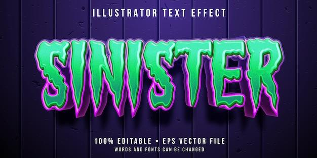 Efeito de texto editável - estilo halloween verde Vetor Premium