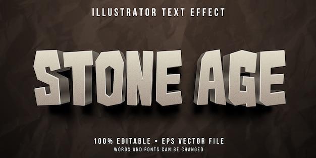 Efeito de texto editável - estilo rock da idade da pedra Vetor Premium