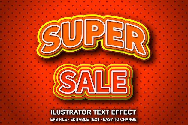 Efeito de texto editável estilo super venda Vetor Premium