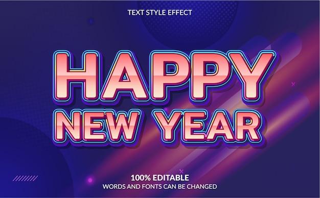 Efeito de texto editável feliz ano novo com fundo abstrato Vetor Premium