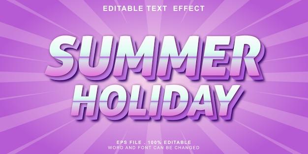 Efeito de texto editável férias de verão 3d Vetor Premium
