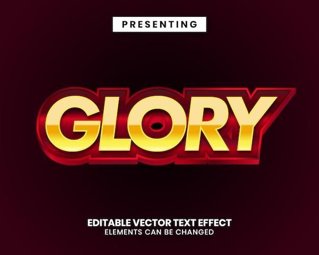 Efeito de texto editável - glória estilo metal brilhante Vetor Premium