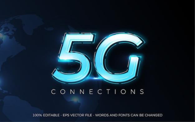 Efeito de texto editável, ilustrações de estilo 5g connections Vetor Premium