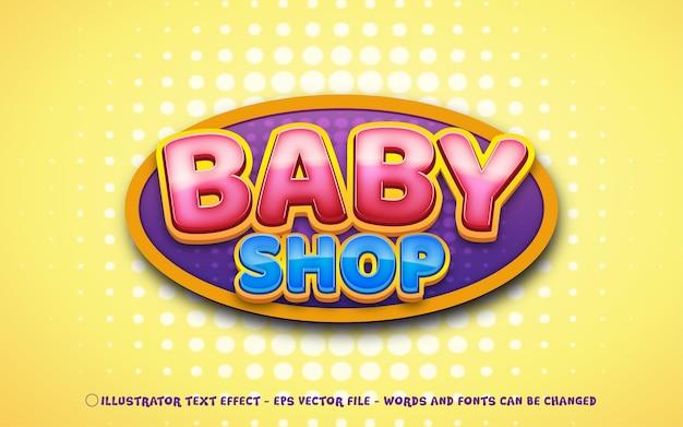 Efeito de texto editável, ilustrações estilo baby shop Vetor Premium