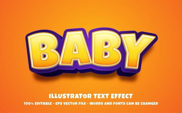 Efeito de texto editável, ilustrações estilo bebê Vetor Premium