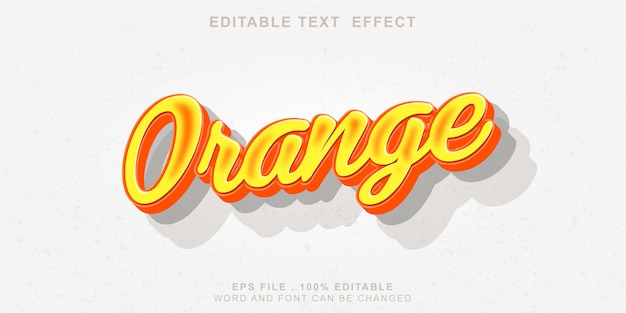 Efeito de texto editável laranja 3d Vetor Premium