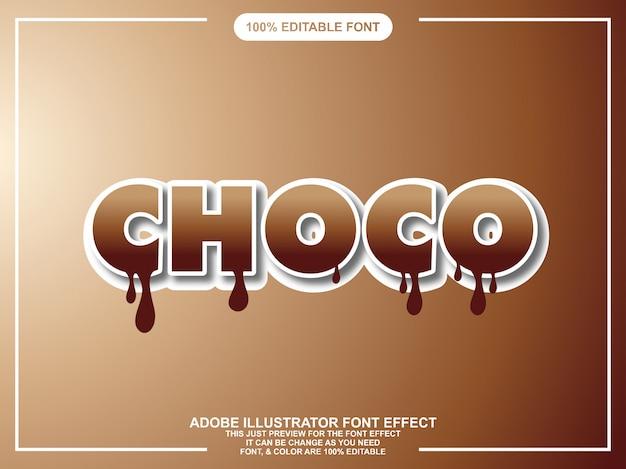 Efeito de texto editável moderno bold (realce) editável de chocolate Vetor Premium