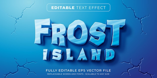 Efeito de texto editável no estilo gelo congelado Vetor Premium