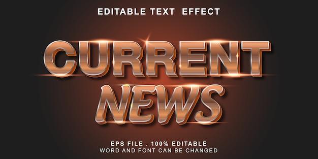 Efeito de texto editável notícias atuais Vetor Premium