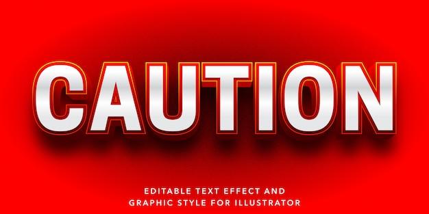 Efeito de texto editável para cautela e estilo de texto de aviso Vetor Premium