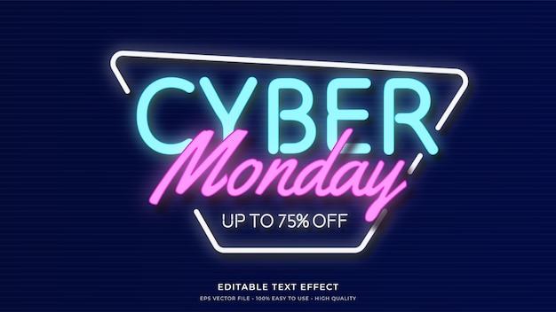 Efeito de texto editável premium de tipografia de luz neon cyber segunda-feira Vetor Premium
