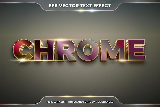 Efeito de texto editável realista metal prata ouro e combinação de cor roxa com conceito de luz flare Vetor Premium
