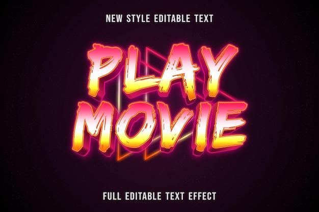 Efeito de texto editável reproduzir filme cor rosa branco e amarelo Vetor Premium