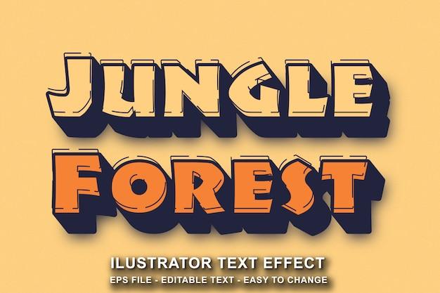 Efeito de texto editável selva floresta estilo cartoon Vetor Premium