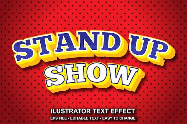 Efeito de texto editável stand up show style Vetor Premium