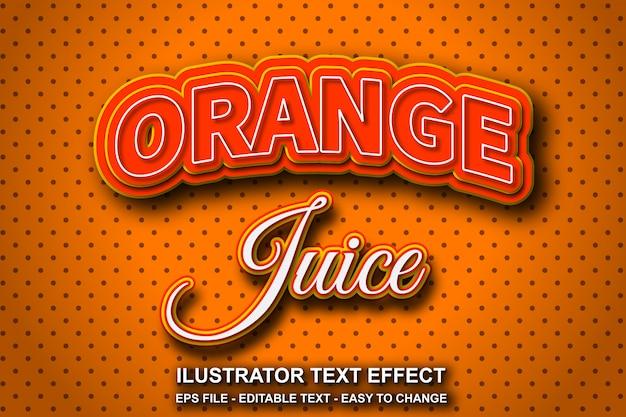 Efeito de texto editável suco de laranja Vetor Premium