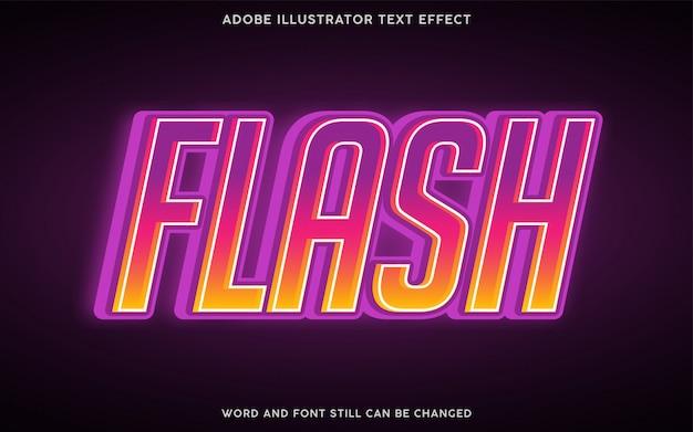 Efeito de texto em estilo flash com gradiente de roxo e amarelo Vetor Premium