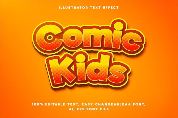 Efeito de texto em gradiente laranja crianças em quadrinhos palavras Vetor Premium