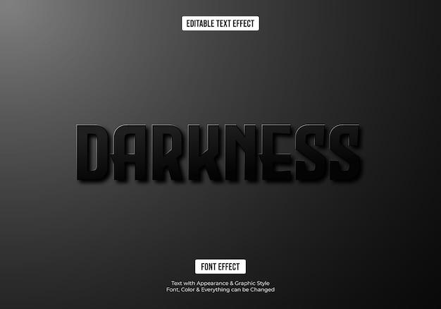 Efeito de texto escuro e preto da fonte 3d Vetor Premium