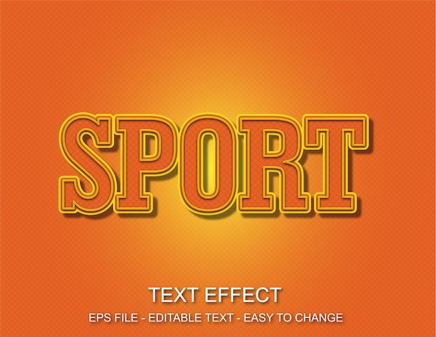 Efeito de texto esporte laranja Vetor Premium