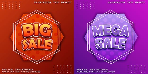 Efeito de texto logotipo editável banner mega venda Vetor Premium