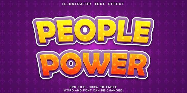 Efeito de texto logotipo poder de pessoas editáveis Vetor Premium