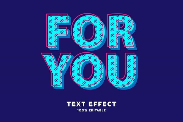 Efeito de texto moderno azul ciano pop art Vetor Premium