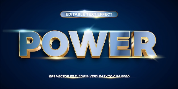 Efeito de texto no power words texto efeito tema editável metal ouro cromo cor conceito Vetor Premium