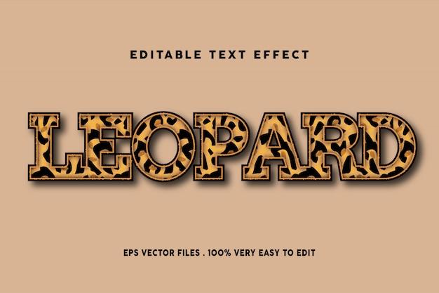 Efeito de texto padrão leopardo, texto editável Vetor Premium