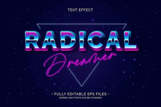 Efeito de texto sonhador radical Vetor grátis