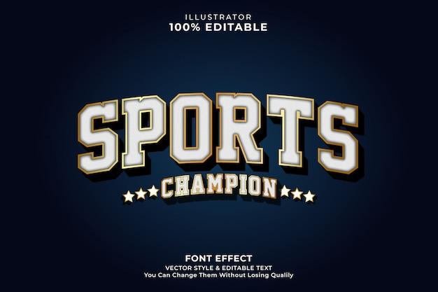 Efeito de texto vintage do esporte Vetor Premium