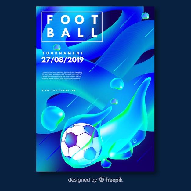 Efeito líquido de modelo de cartaz de futebol Vetor grátis