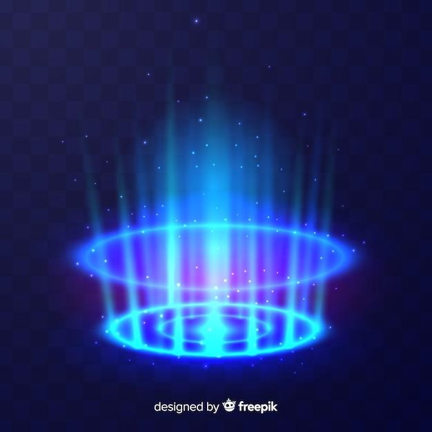 Efeito portal decorativo de luz azul Vetor grátis