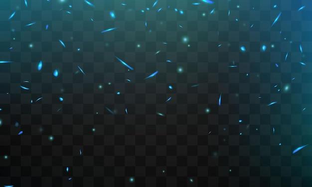 Efeito queima de faíscas de fogo realistas, chamas azuis Vetor Premium