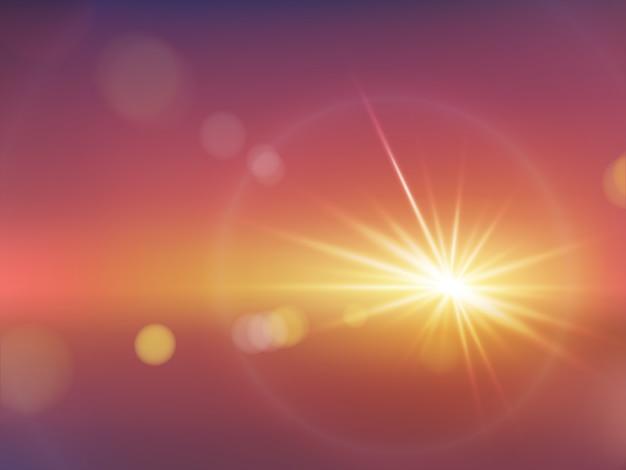 Efeito realista da luz solar com um vetor bokeh desfocado Vetor grátis